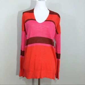 Banana Republic Striped Linen V Neck Top Pink Red